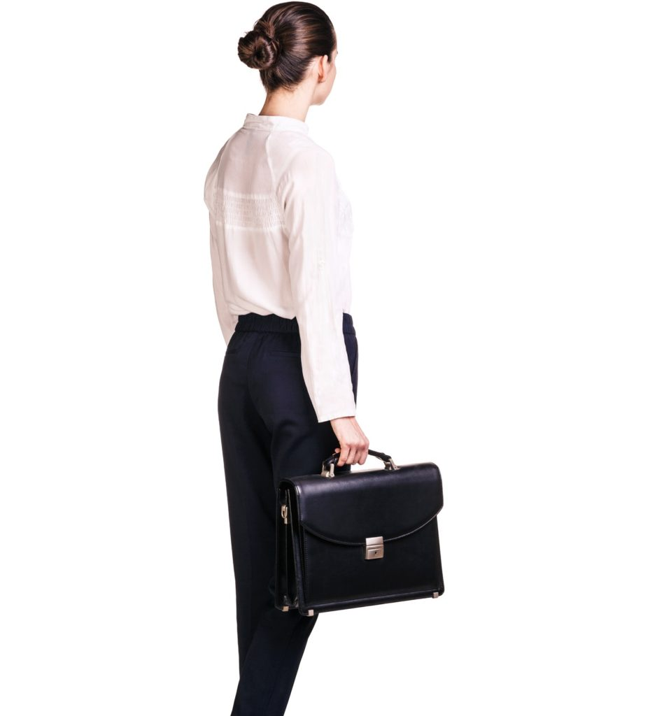 office woman with designer bag